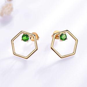 Natural Diopside Gemstone Stud Silver Earrings